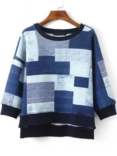 Patchwork Contrast Trim Dip Hem Sweatshirt