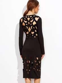 Black Laser Cutout Pencil Dress