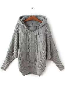 Pull à capuche câble tricoté -gris