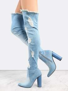 Pointed Toe Distressed Denim Boots DENIM