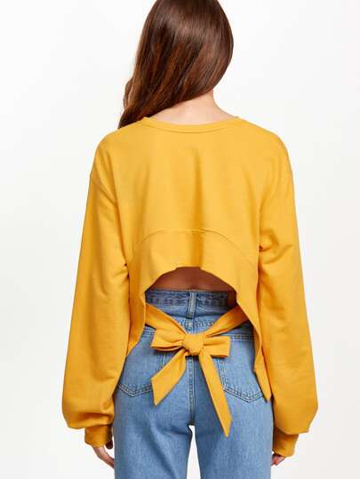 Yellow Split Sleeve Bow Tie Crop Back Sweatshirt