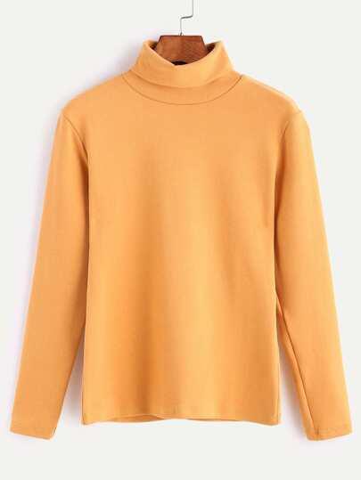 Yellow Turtleneck Long Sleeve T-shirt