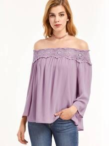 Purple Hollow Out Crochet Off The Shoulder Top