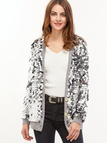 Silver Large Sequin Button Up Jacket
