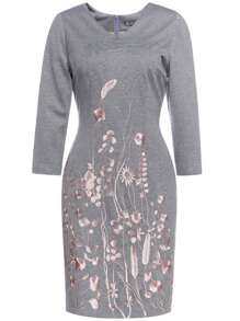 Grey V Neck Flowers Embroidered Sheath Dress