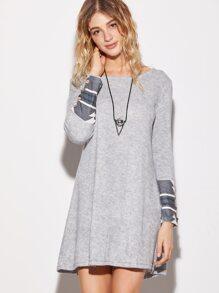 Grey Contrast Geometric Print Cuff Dress