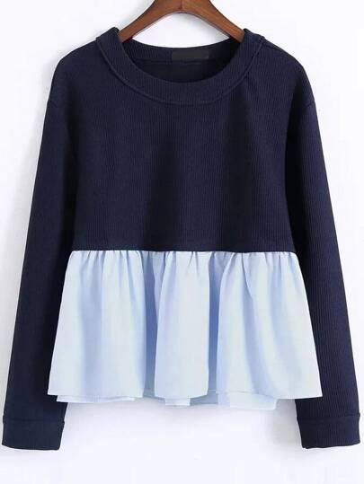 Color Block Ruffle Hem 2 In 1 Sweatshirt