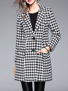 Black Lapel Houndstooth Pockets Coat