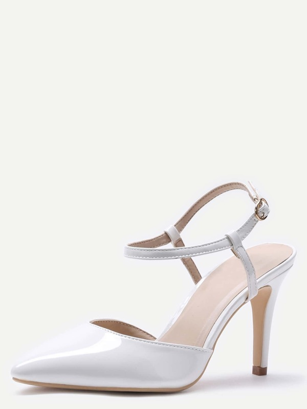 White Pointed Toe Slingback Ankle Strap Pumps -SheIn(Sheinside)