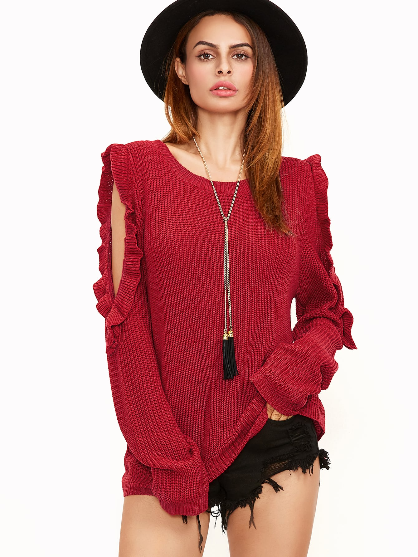 Red Ruffle Trim Open Shoulder Sweater