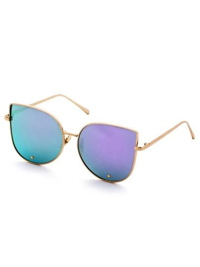 Gold Frame Purple Cat Eye Stylish Sunglasses