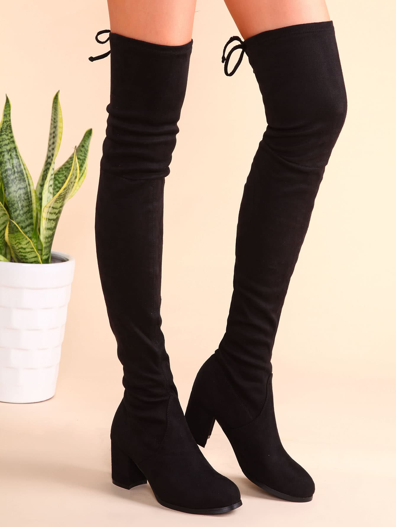 Black Suede Tie Back Chunky Heel Thigh High Boots -SheIn(Sheinside)