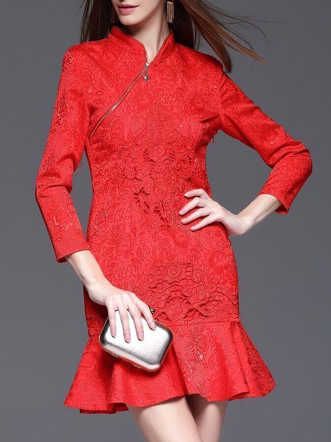 Фото Red Zipper Embroidered Jacquard Frill Dress. Купить с доставкой