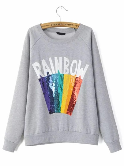 Grey Letter Print Rainbow Sequined Sweatshirt