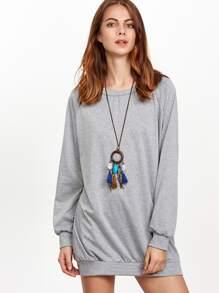 Grey Raglan Sleeve Sweatshirt Dress