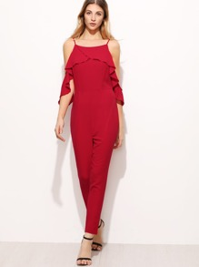 Red Ruffle Cold Shoulder Skinny Jumpsuit