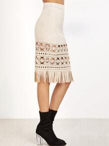 Apricot Faux Suede Laser Cutout Fringe Skirt