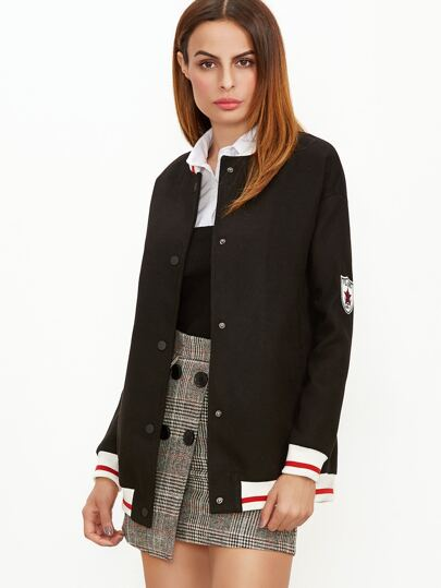 Black Striped Trim And Sleeve Button Up Baseball Jacket