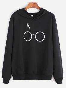 чёрный свитшот с капюшон с принтом очков
