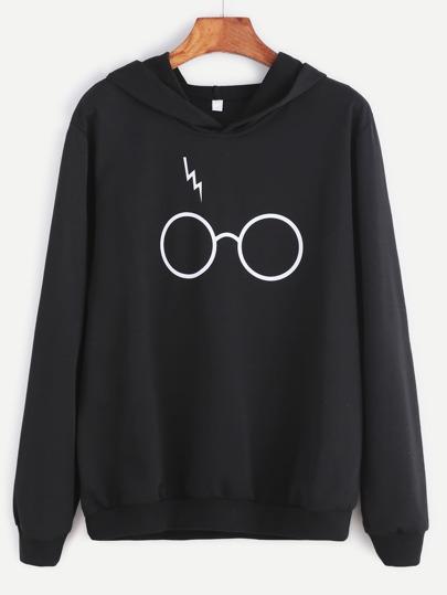 Sudadera con estampado de gafas y capucha - negro