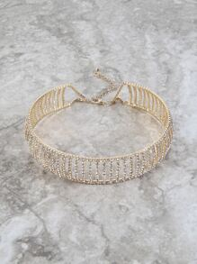 Faux Crystal Lined Choker GOLD