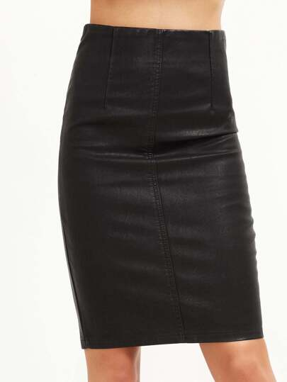 black faux leather slit side skirt shein sheinside