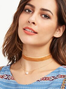 Camel Velvet Layered Faux Pearl Choker Necklace