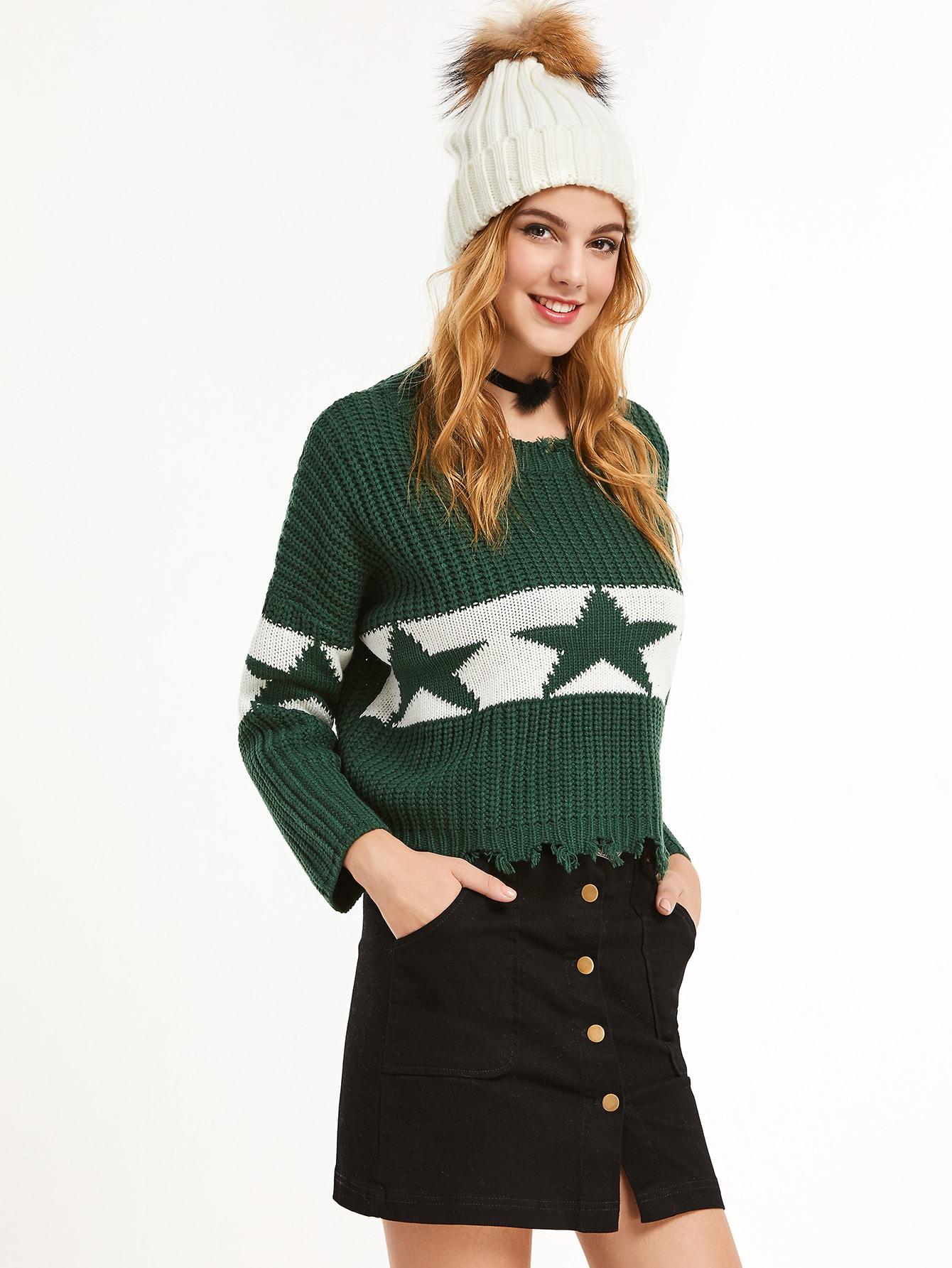 Green Drop Shoulder Contrast Star Pattern Frayed Trim Sweater sweater161122034