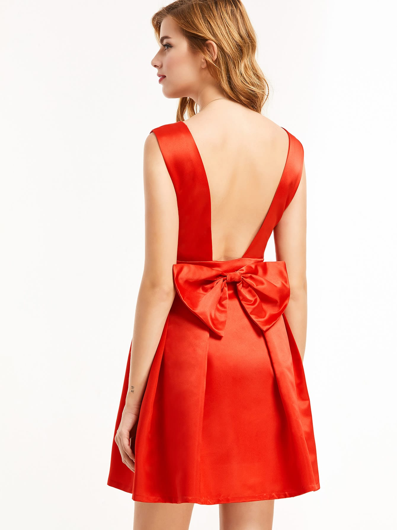 Red Open Back Bow Detail Party Dress dress161122137