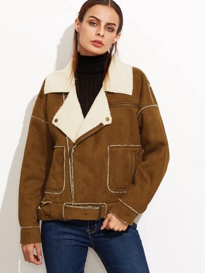 Brown Faux Shearling Buckle Strap Hem Jacket