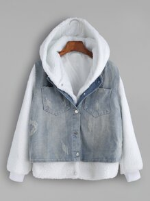 White Faux Shearling Hooded Top With Denim Vest