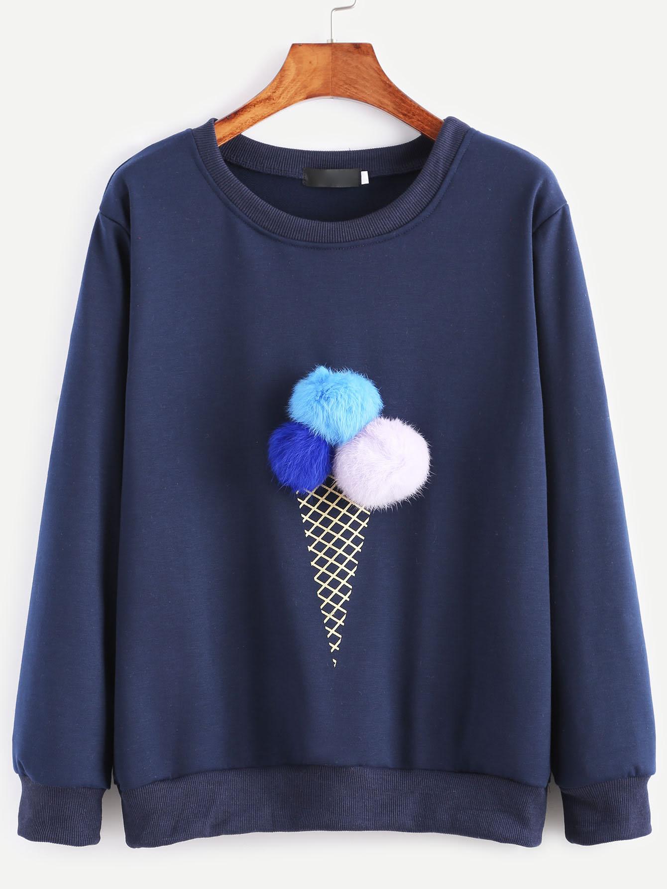 Ice Cream Print Pom Pom Sweatshirt navy round neck sweatshirt with pom pom details