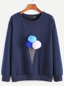 Sweatshirt mit Bommel Eiscreme-Druck-schwarz