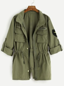 Army Green Printed Back Drawstring Waist Utility Coat