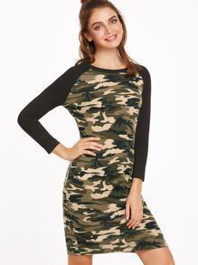 Camouflage Print Contrast Raglan Sleeve Tee Dress