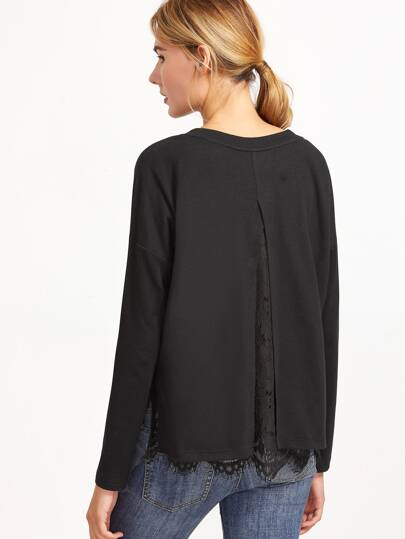 Camiseta con abertura en espalda y ribete de encaje floral - negro