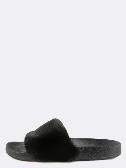 Open Toe Faux Fur Slide Sandals BLACK