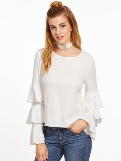 White Fringe Trim Layered Ruffle Sleeve Top With Ring Choker