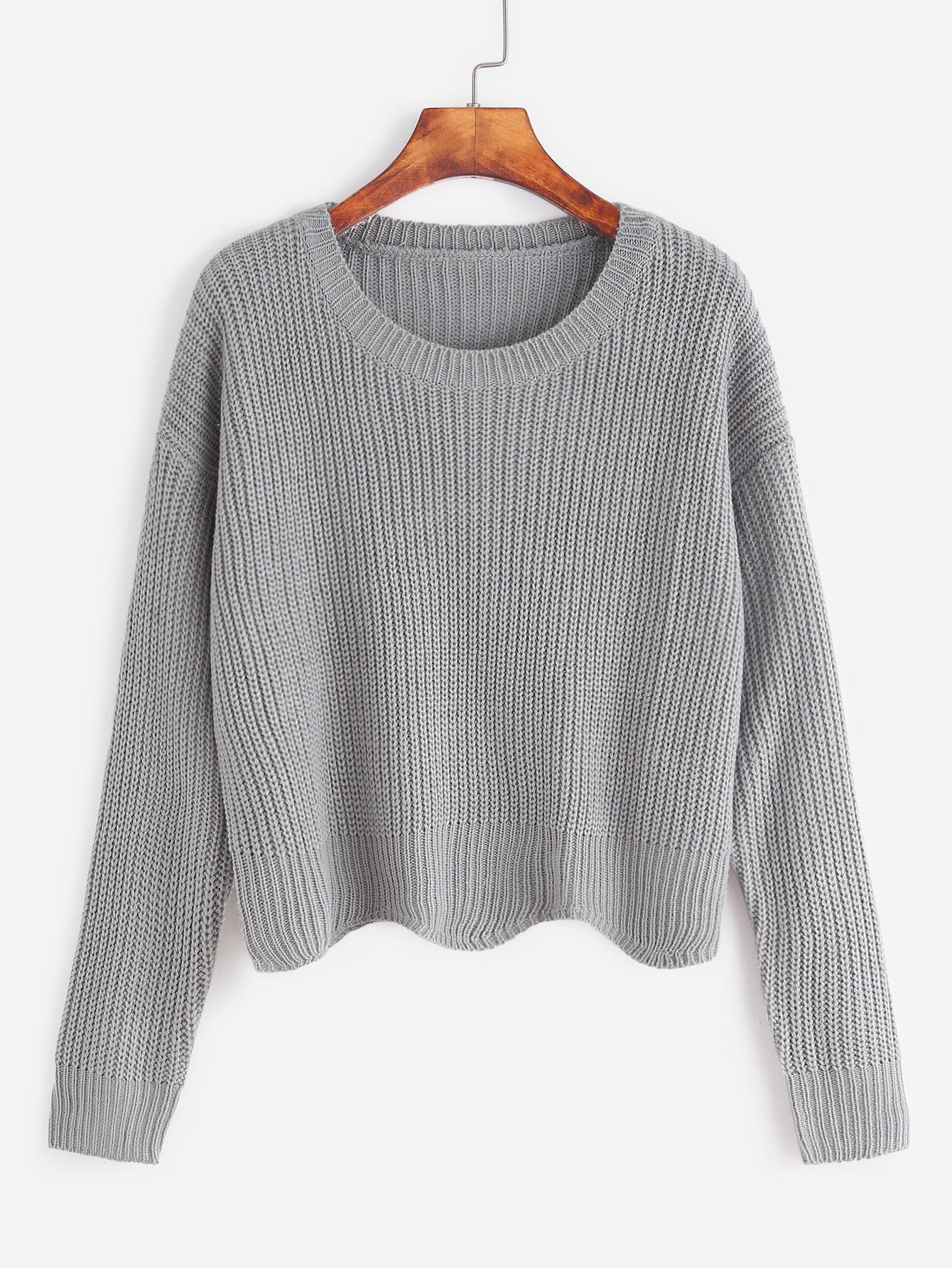 Pale Grey Drop Shoulder Seam Wave Hem Sweater sweater161104009