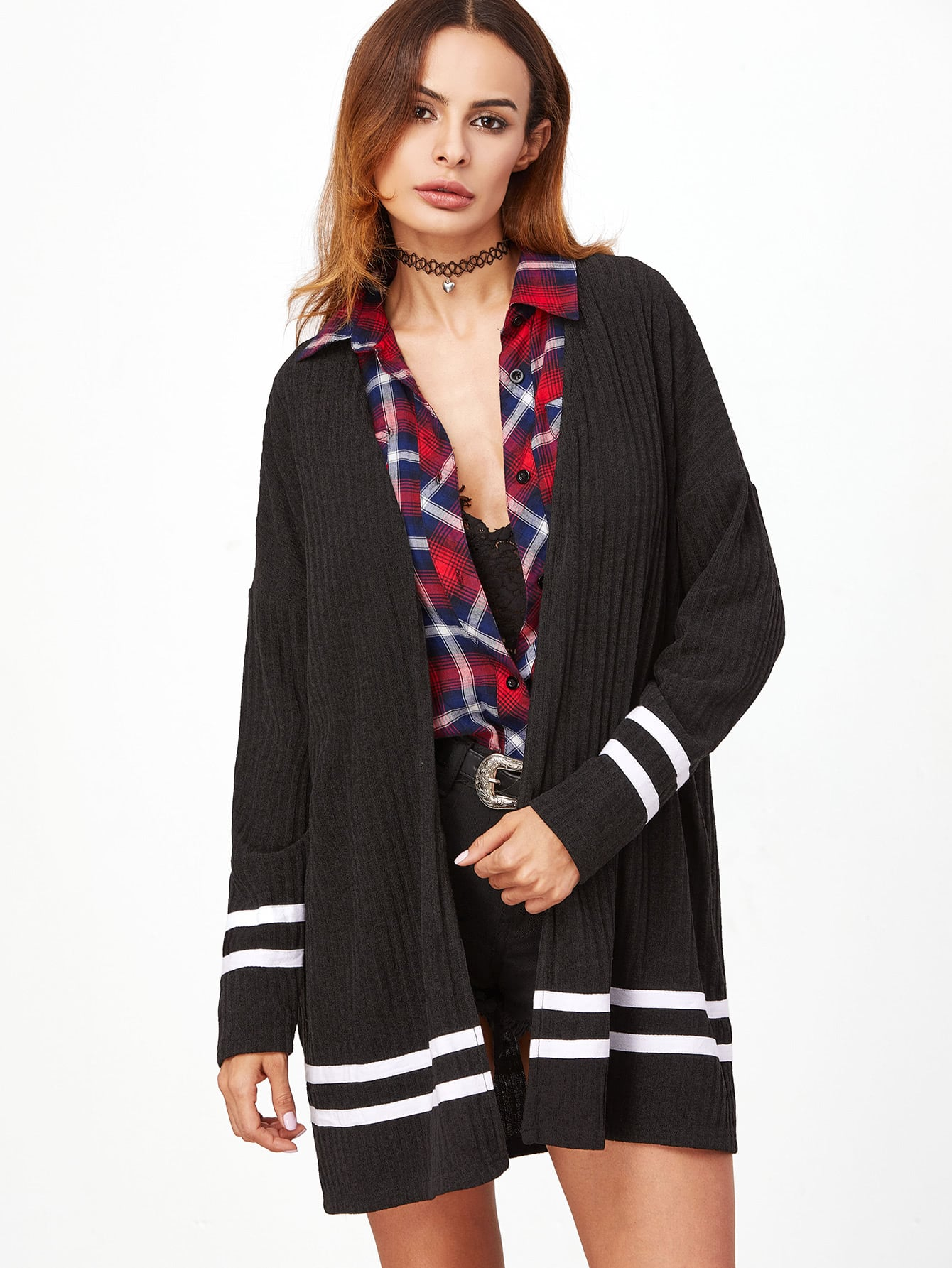 Drop Shoulder Ribbed Knit Striped Trim Coat outer161110702