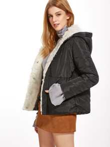 Black Faux Fur Lining Quilted Padded Coat