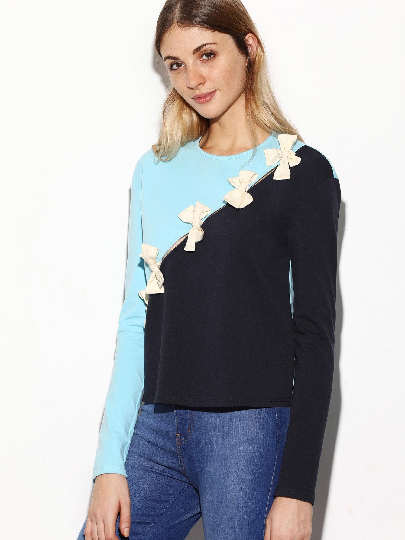 Фото Color Block Bow Tie Embellished Split T-shirt. Купить с доставкой