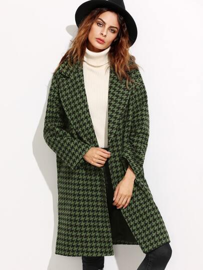 Green Houndstooth Hidden Button Coat