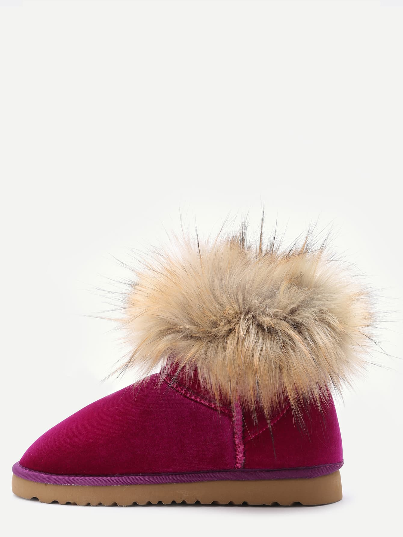 Фото Hot Pink Velvet Soft Sole Fur Cuff Snow Boots. Купить с доставкой
