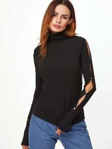Black Ribbed Knit High Neck Buttoned Slit Sleeve T-shirt