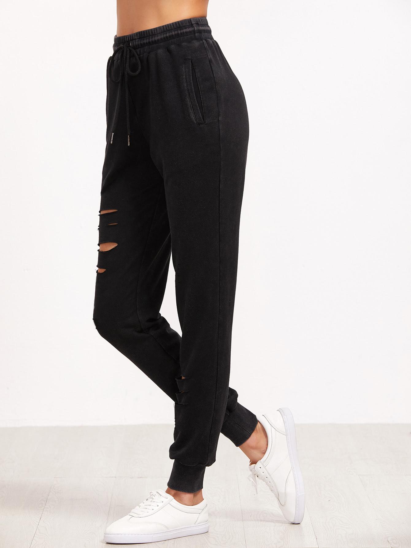 Фото Ripped Drawstring Sweatpants. Купить с доставкой