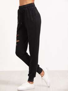 Ripped Drawstring Sweatpants