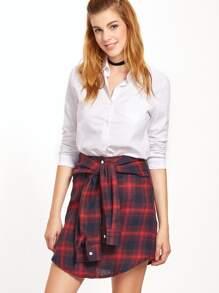 Tartan Plaid Tie Front Button Skirt