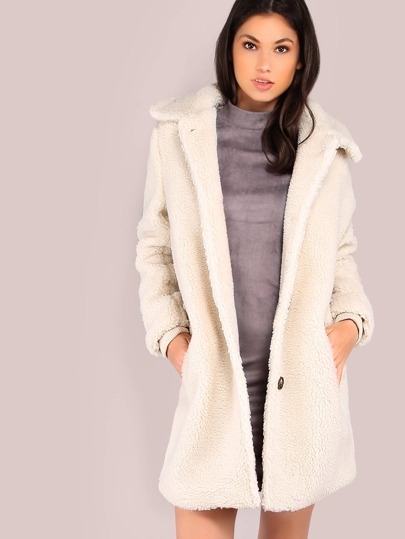 Fuzzy Knit Button Up Coat IVORY