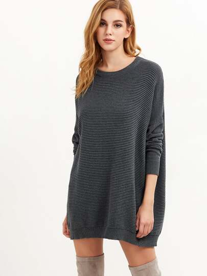 Grey Ribbed Knit Drop Shoulder Oversized Sweater